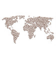 worldwide map mosaic of rooster head items vector image