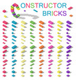 colored building blocks of plastic constructor vector image