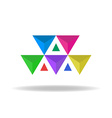 Design logo of the colorful faceted triangles vector image