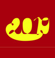 2019 in abstract style yellow and red new year vector image