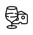 a glass wine and a piece cheese wine vector image