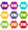 airline boarding pass icon set color hexahedron vector image vector image
