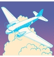 Airplane in the clouds vintage retro travel vector image vector image