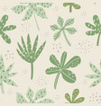 aralia and palm leaves hand drawn seamless pattern vector image vector image