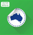 australia sticker map icon business concept vector image vector image
