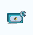 banknotes cash dollars flow money flat icon green vector image