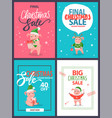 big christmas sale holiday discount postcards set vector image vector image