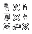 biometric identification icons vector image
