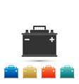 car battery icon accumulator battery energy vector image vector image