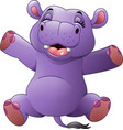 cartoon funny hippo vector image vector image