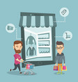 caucasian men doing online shopping vector image vector image