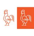 cock linear logo vector image vector image