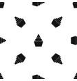 cupcake pattern seamless black vector image vector image