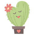 cute cactus heart shaped with floral valentines vector image