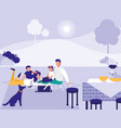 cute family in park with picnic vector image vector image