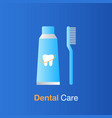 dental care concept toothpath and toothbrush vector image