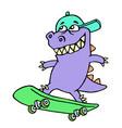 extreme cartoon purple dinosaur on a skateboard vector image vector image
