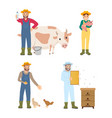 farmer man and woman icon set vector image vector image