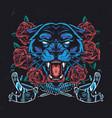 ferocious black panther head vector image