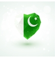 Flag of Pakistan in shape diamond glass heart vector image