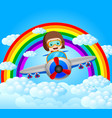funny pilot riding plane with rainbow scenery vector image vector image
