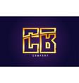 gold golden alphabet letter cb c b logo vector image