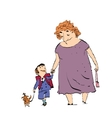 Grandma grandson and dog on a walk vector image vector image