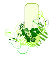 green banner with flowers vector image vector image