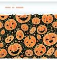 Halloween pumpkins horizontal torn frame seamless vector image