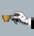 hand with a coffee cup vector image vector image