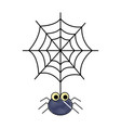 hanging cute cobweb spider halloween vector image