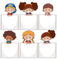 happy kids and white papers vector image vector image