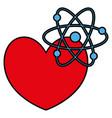 heart cardio with atom molecule vector image vector image