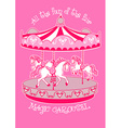 magic carousel with white horses vector image vector image