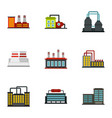manufacturing plant icons set flat style vector image vector image