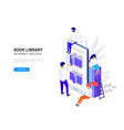 online library concept smartphone vector image vector image