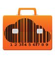 Orange icon portfolio with a barcode in the form vector image