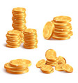 realistic coins pile golden coin dollar stack 3d vector image vector image