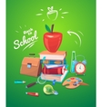 school objects On green vector image