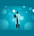 scientist in lab coat in middle artificial vector image