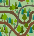 Seamless forest pattern Cartoon trails and trees vector image vector image