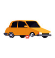 sedan car standing on lifting jack for flat tire vector image
