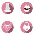 set of wedding objects vector image vector image