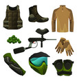 set paintball tools game accessories icons vector image vector image