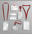 set realistic clear plastic badges id cards vector image vector image