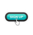 sign up green realistic 3d button isolated