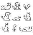 simple set pet related line icons vector image vector image