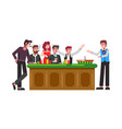table for roulette wheel with players and croupier vector image vector image