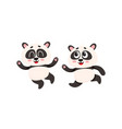 two cute funny baby panda characters running vector image vector image