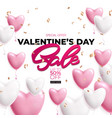 valentines day sale poster with pink and white vector image vector image